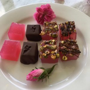 Samaria Farm Turkish Delight on a plate with a damask rose